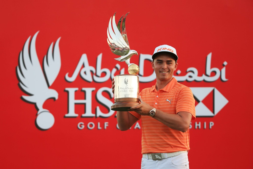 ABU DHABI, UNITED ARAB EMIRATES - JANUARY 24:  Rickie Fowler of the United States poses with the winners trophy after round four of the Abu Dhabi HSBC Golf Championship at the Abu Dhabi Golf Club on January 24, 2016 in Abu Dhabi, United Arab Emirates.  (Photo by Matthew Lewis/Getty Images)