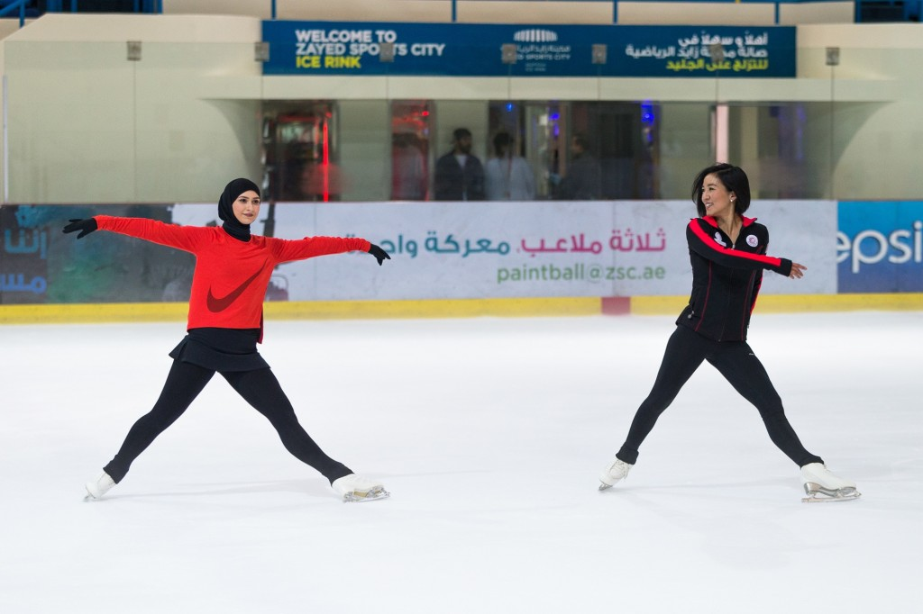 Michelle Kwan, two-time Olympic medallist, five-time World champion and nine-time U.S. champion, visited Zayed Sports City Ice Rink to skate with Emirati Olympic hopeful Zahra Lari
