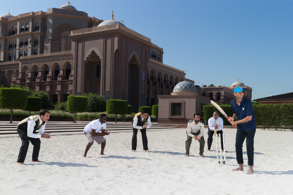 Cricket Legend Younis Khan Bats with Emirates Palace Staff (1)